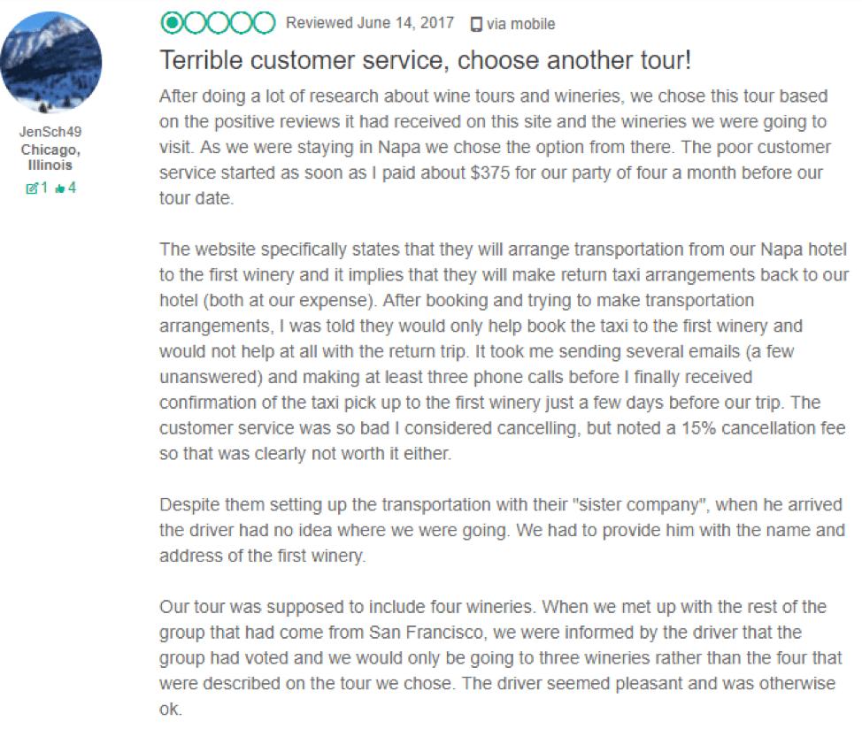 TripAdvisor negative review