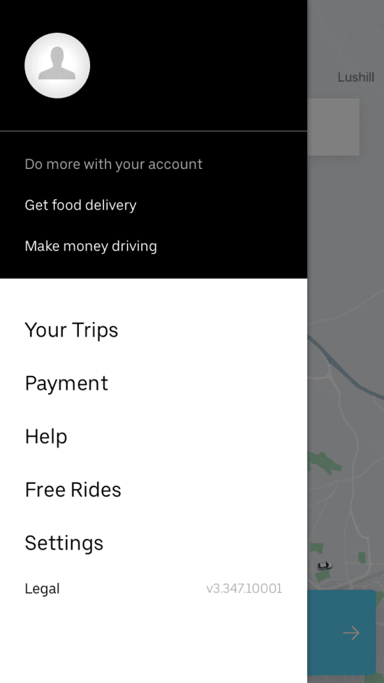 Uber Eats menu