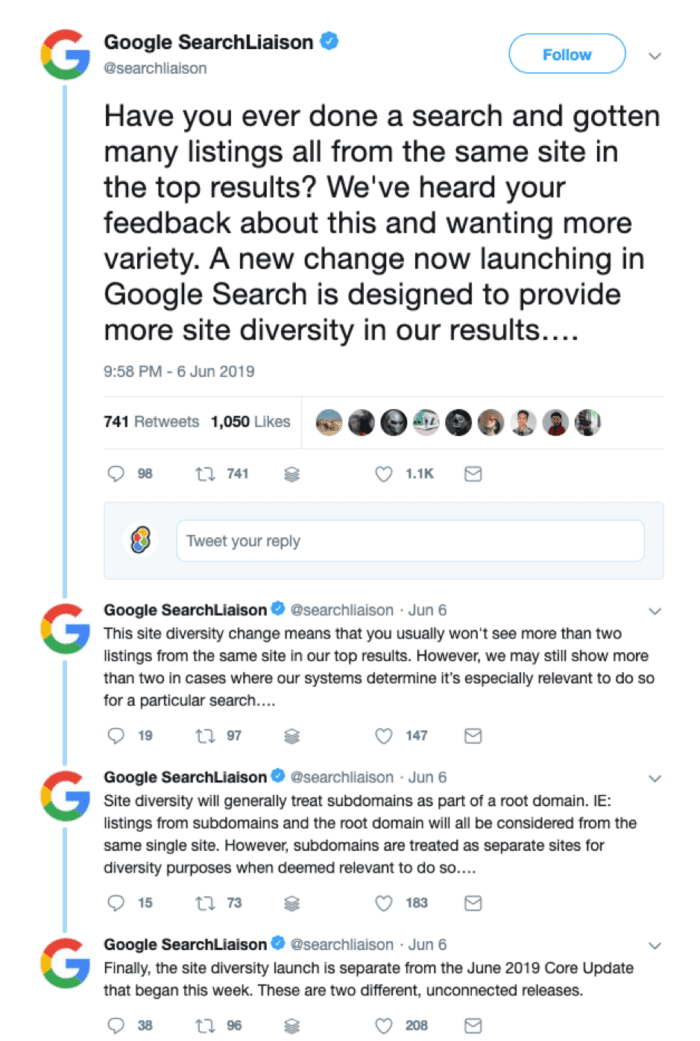 Google search update tweet