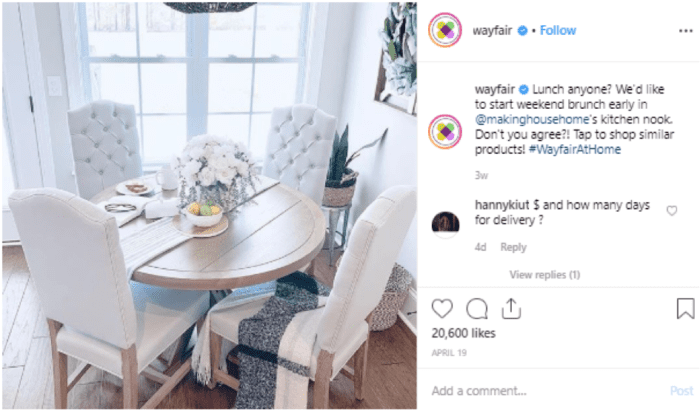 Wayfair Instagram