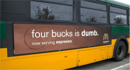 mccafe four bucks is dumb advert