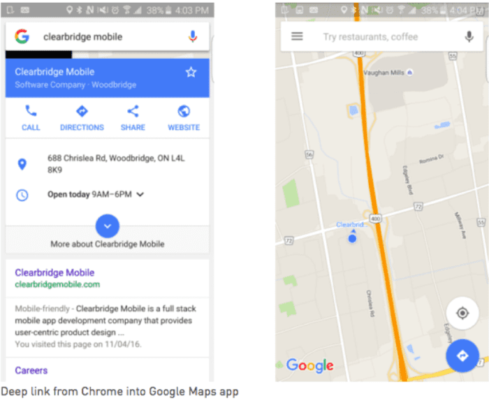 Deep link from Chrome to Google Maps