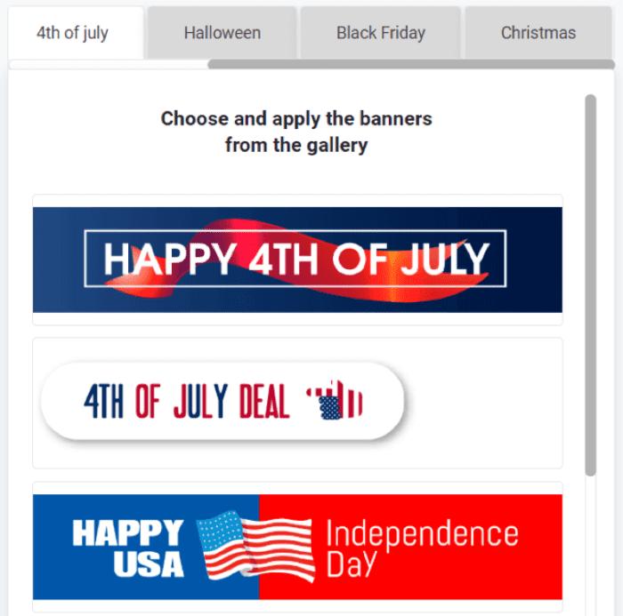 Seasonal email banners