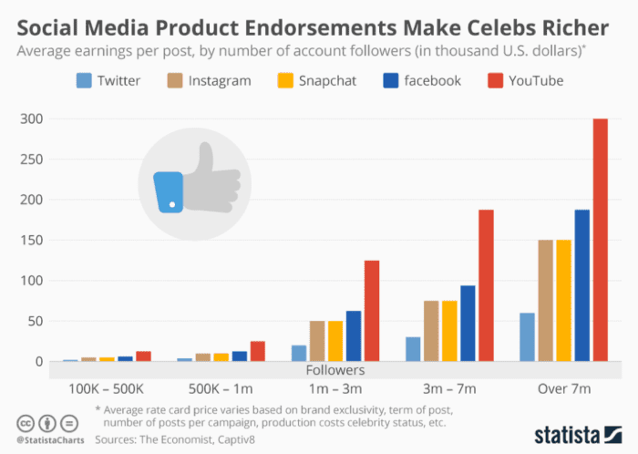 Social media product endorsements make celebs richer