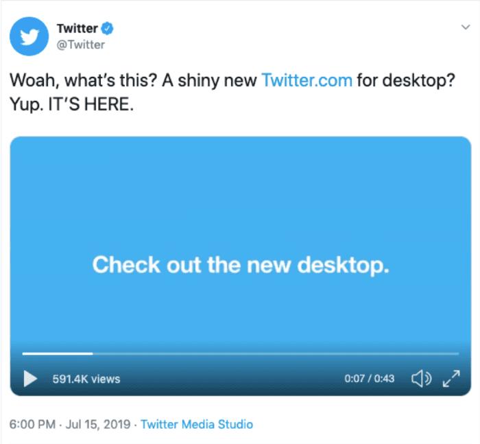 Twitter announcement Tweet
