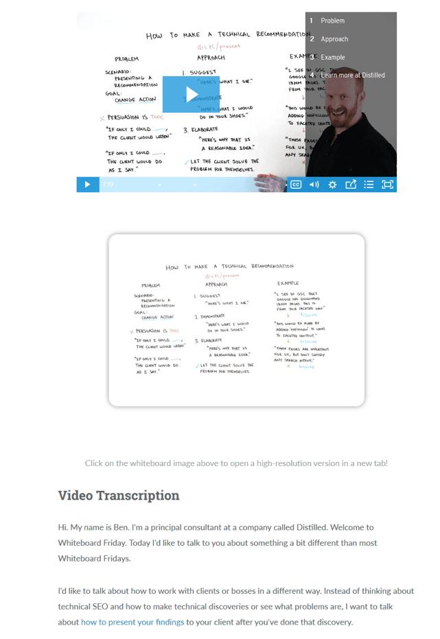 Video transcripting