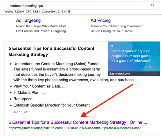 content marketing tips search