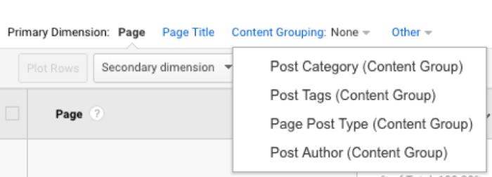 Content Grouping drop down menu