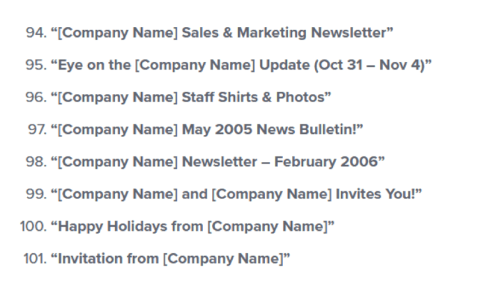 Short email subject line examples