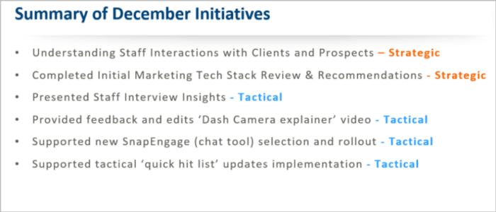 Summary of December initiatives