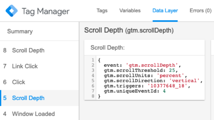 Tag Manager scroll depth setup