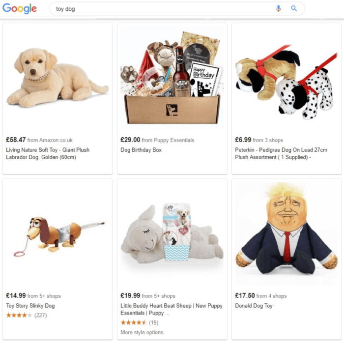 Toy dog search results