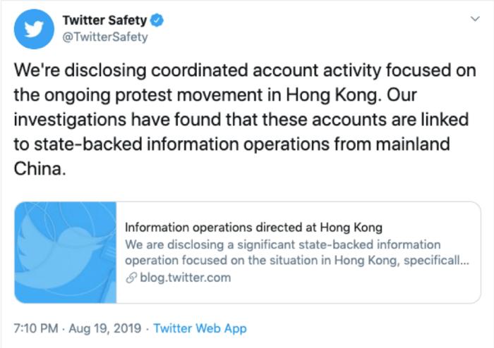 Twitter Hong Kong account removal Tweet