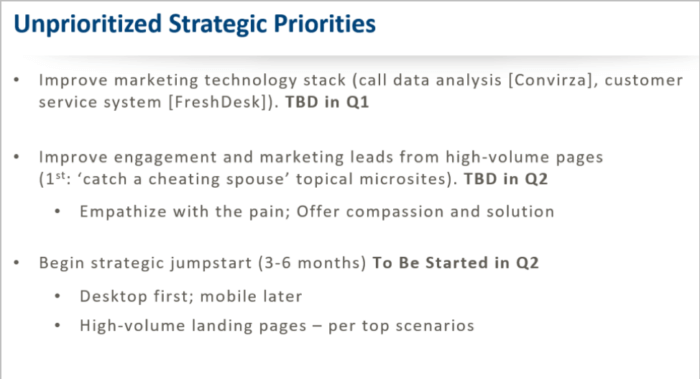 Unprioritized strategic priorities