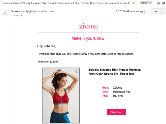 Zivame email example