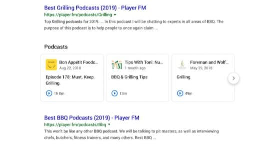 podcasts google serps