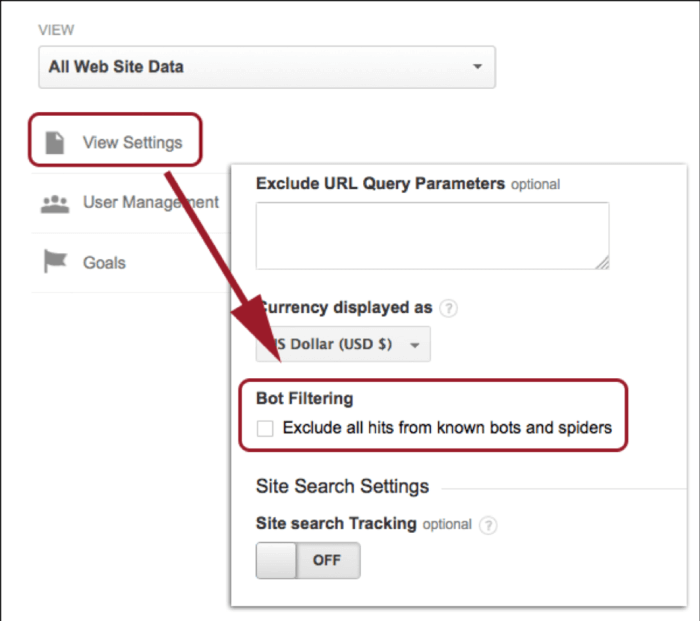 Bot filters in Google Analytics