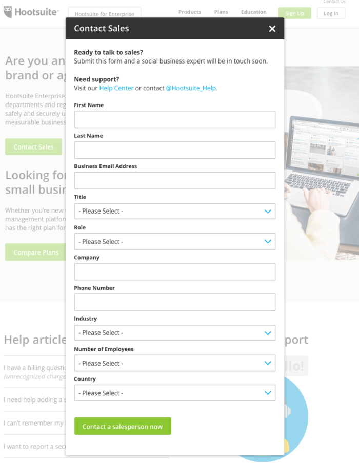 Hotsuite contact form