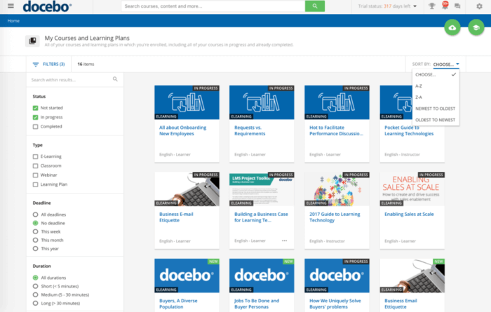 Courses and learning plans on docebo