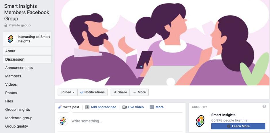 Comunidade de membros do Facebook Smart Insights