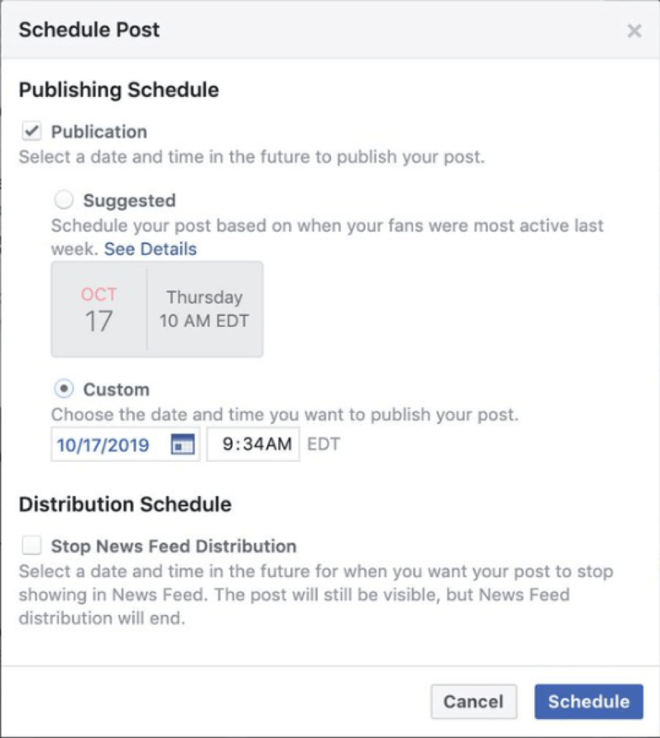 Facebook scheduling changes