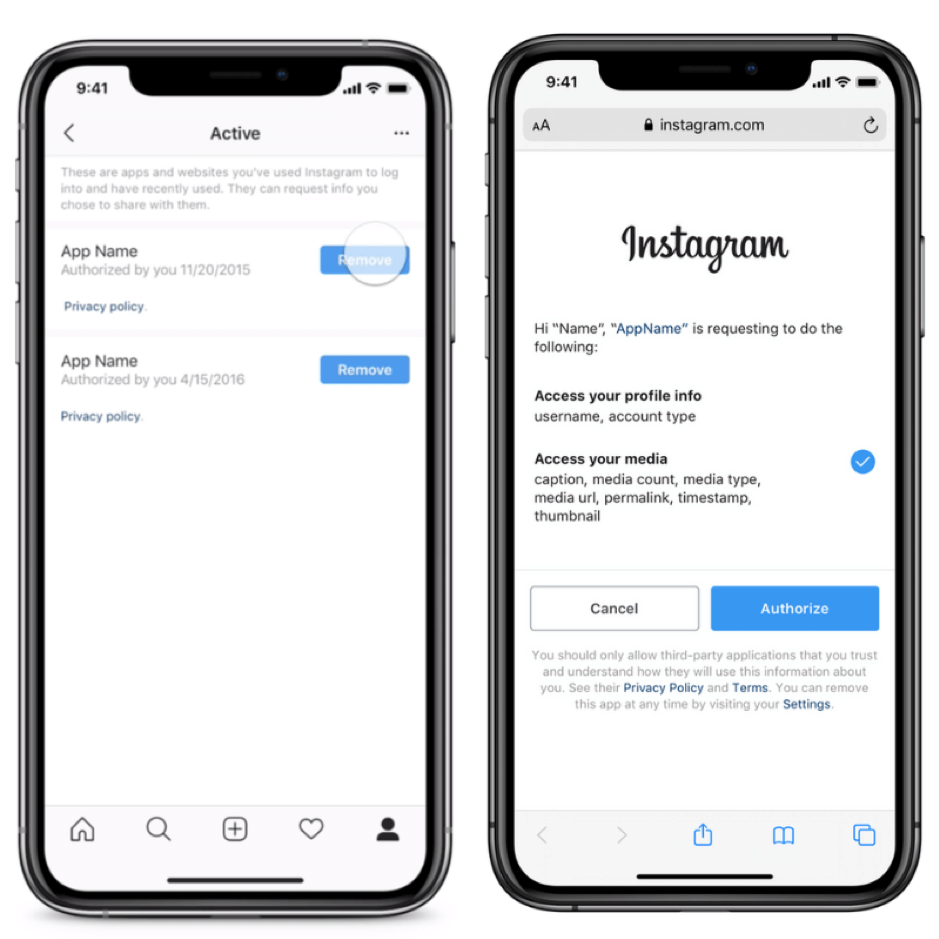 Instagram third-party authorization changes