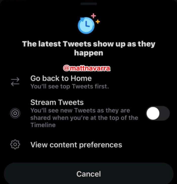 Stream Tweets option