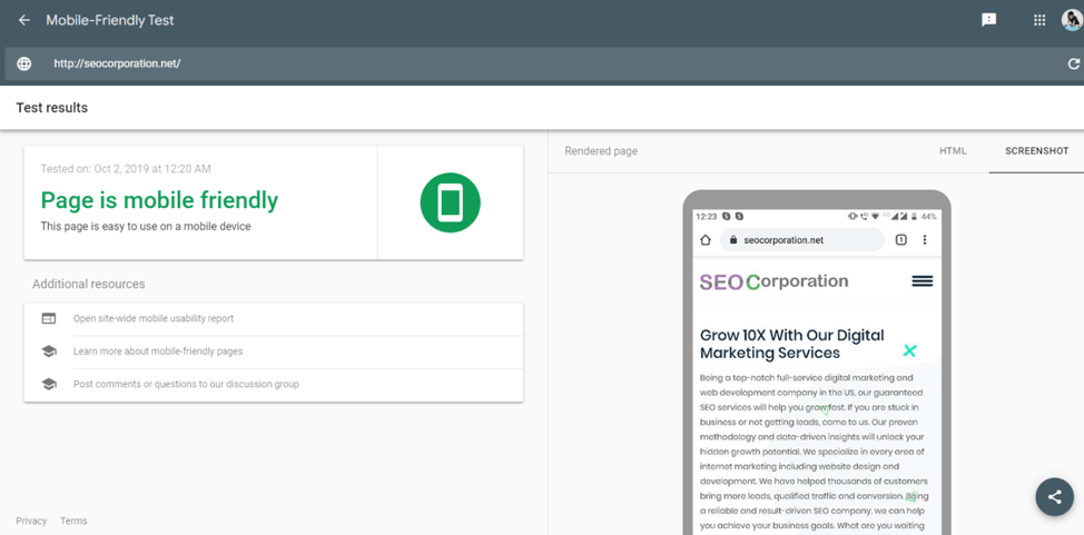 Testing for mobile-friendly features