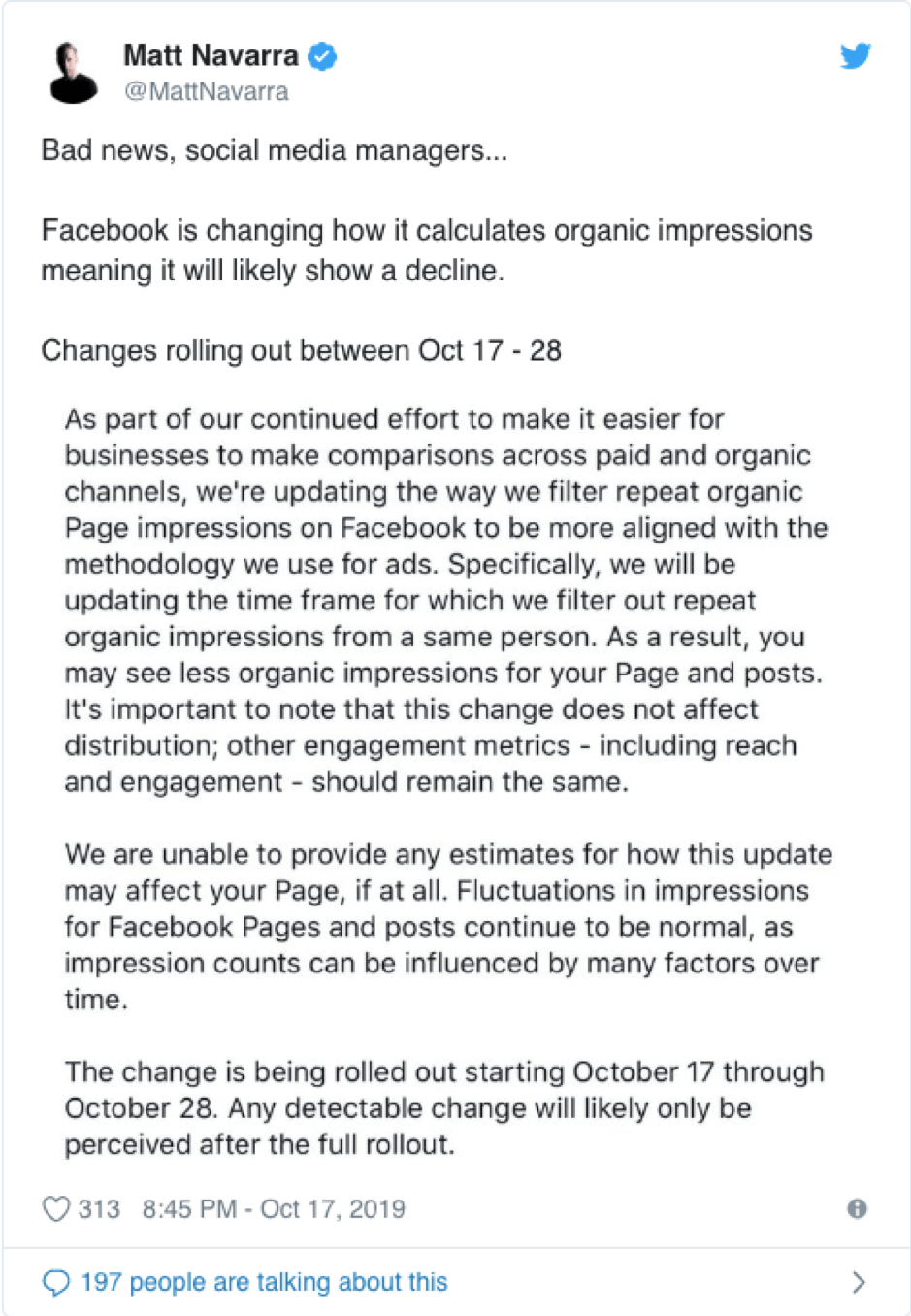 Facebook organic reach changes