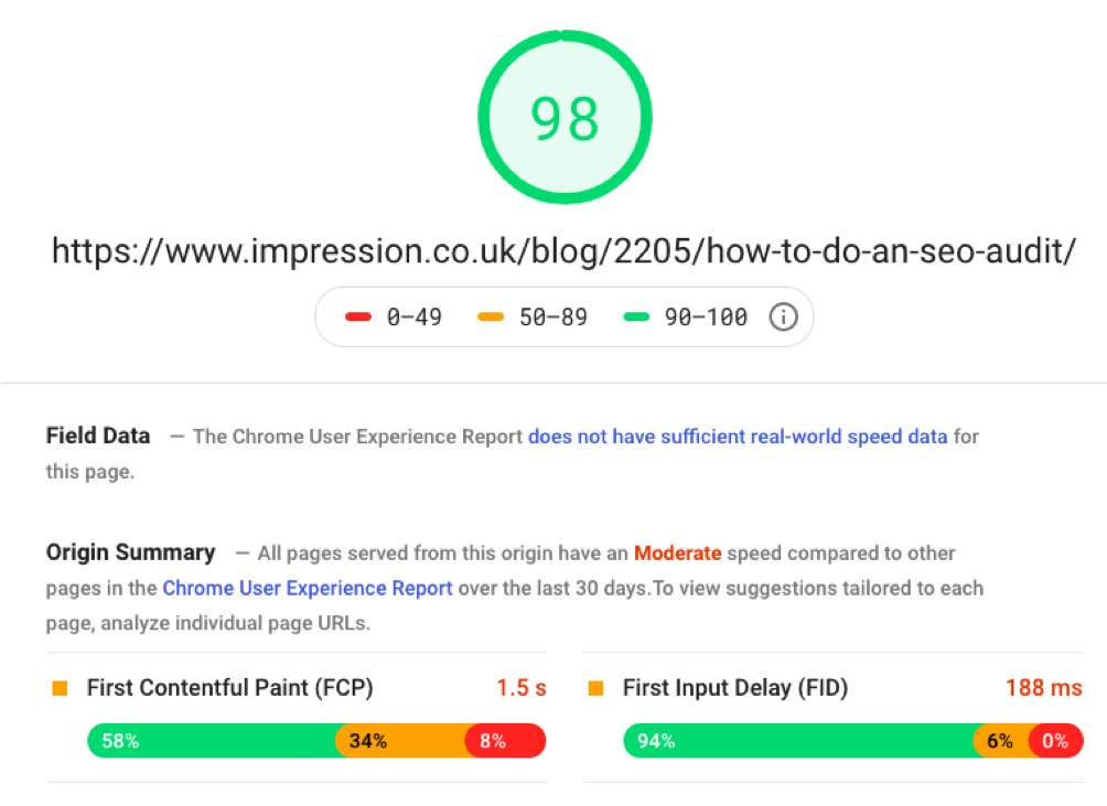 Consulting the PageSpeed Insights tool