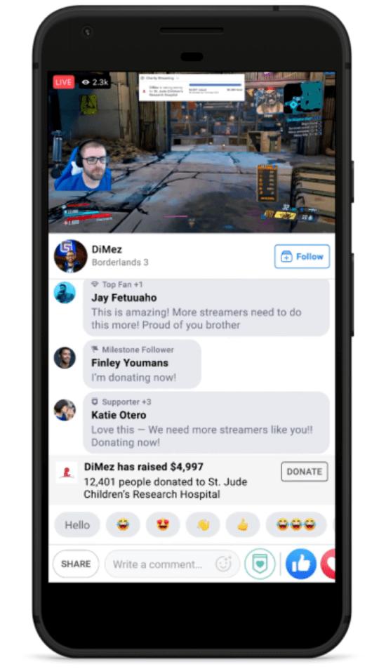 Facebook livestreaming fundraising