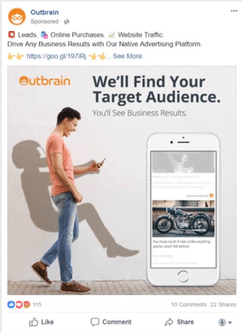 Outbrain Facebook ad