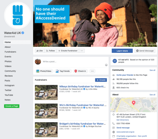 Water Aid Facebook page