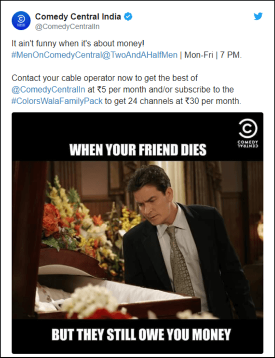 Comedy Central India Twitter post