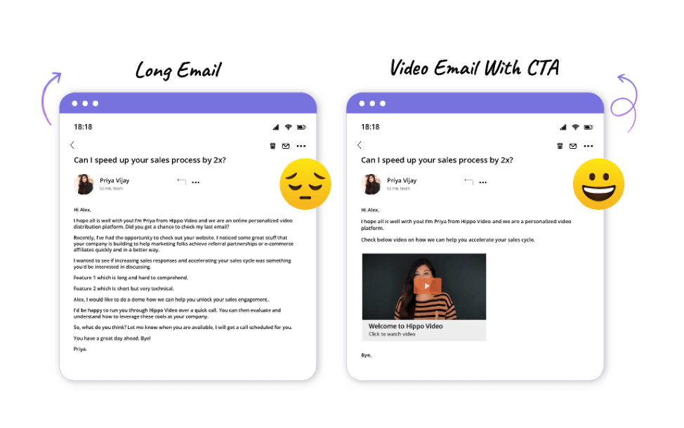 Text email versus video email