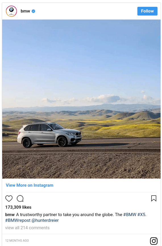BMW Instagram e-commerce inbound marketing post