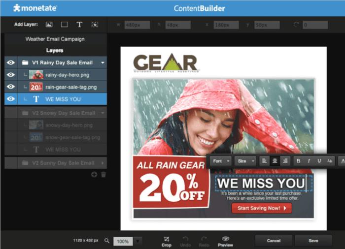 Monetate content builder