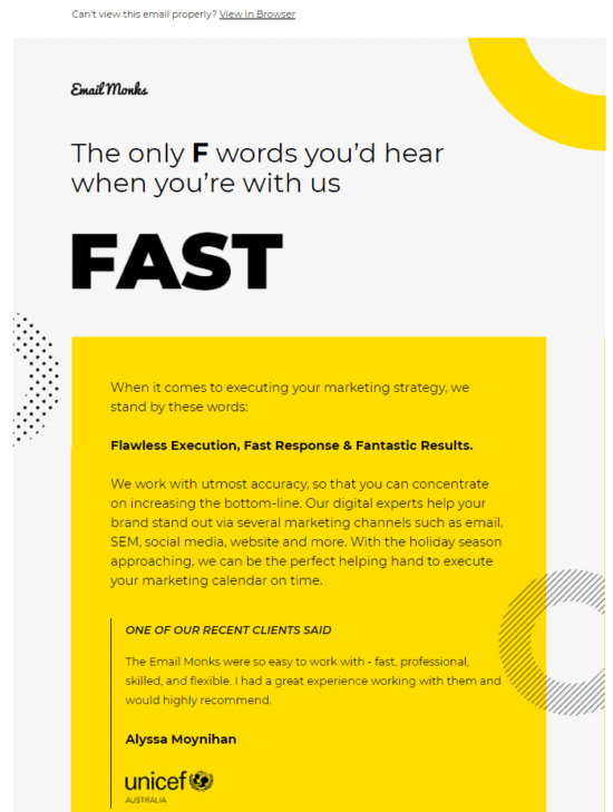 Typography only email example