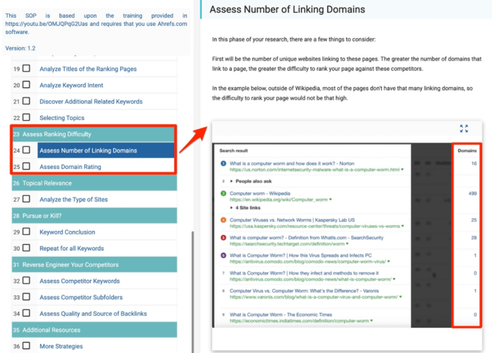 Assess number of linking domains
