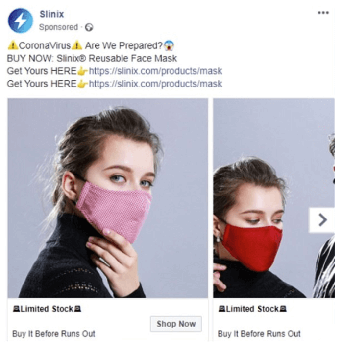 Coronavirus Facebook ads