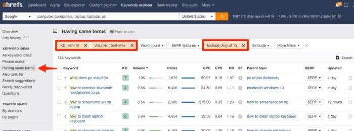 Keyword difficulty and search volume filters