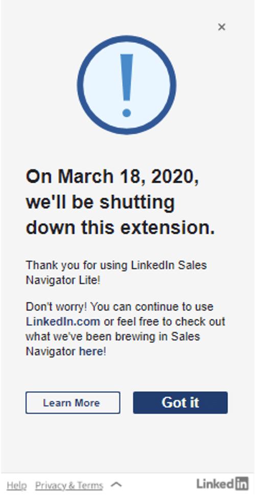 LinkedIn shutting down Sales Navigator Gmail extension