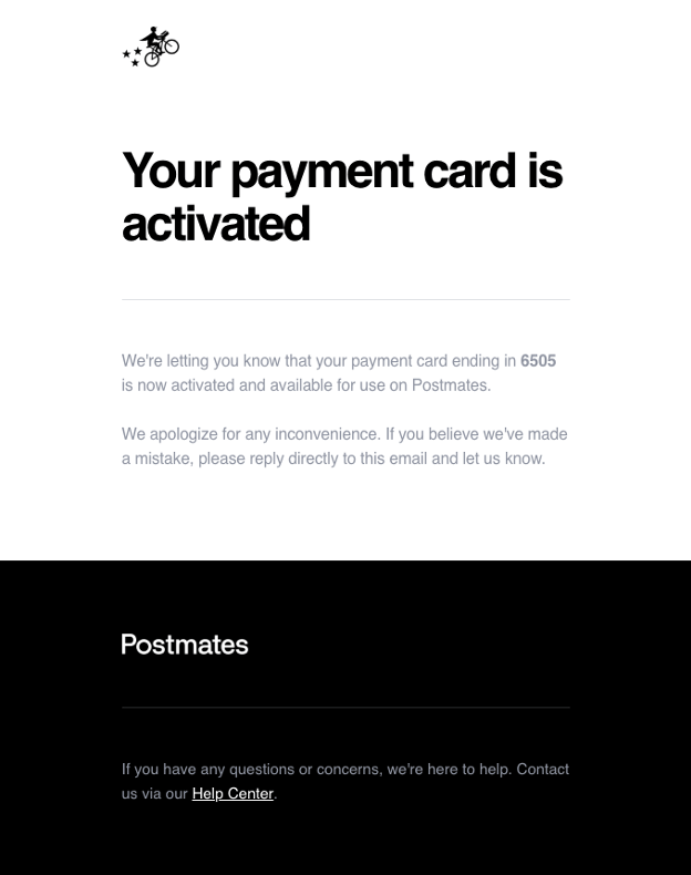 Payment card activation message