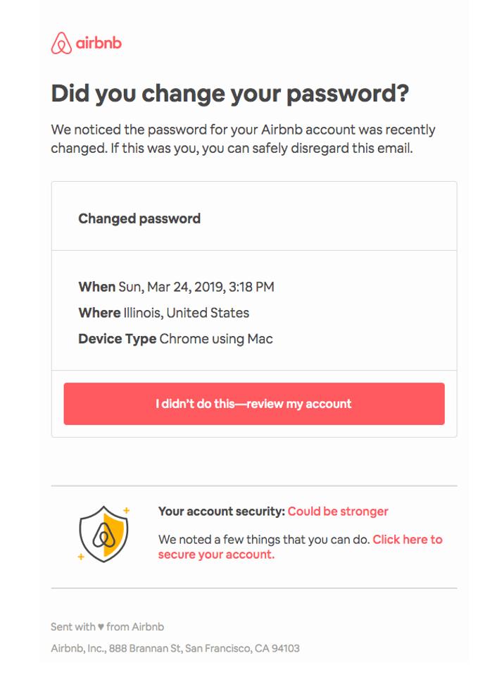 Changing password reminder