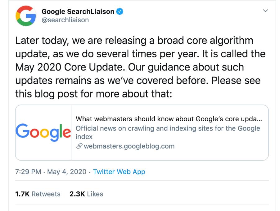 Google Update Message