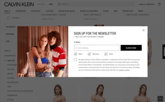 E-commerce marketing strategy popup