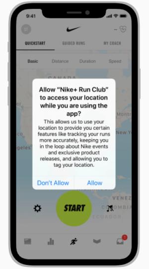 pop-up de privacidade de ativação do iOS14