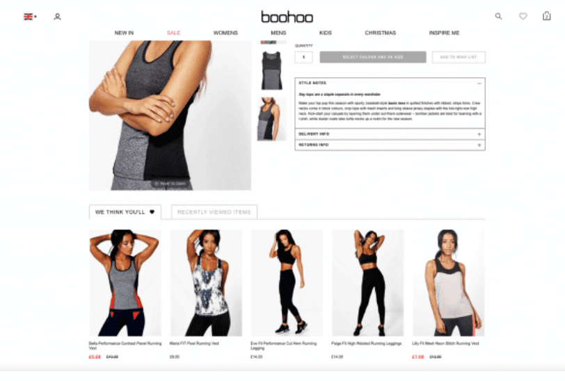E-commerce clothing recommendations personalization
